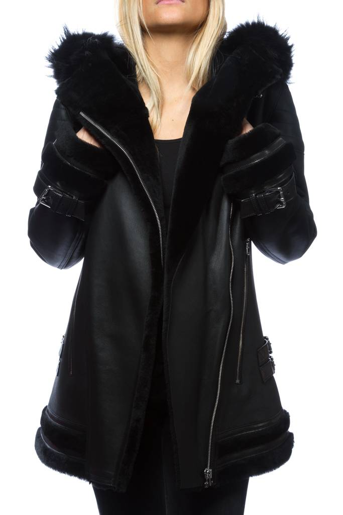 veste femme peau lain e giorgio victorine noir revacuir. Black Bedroom Furniture Sets. Home Design Ideas