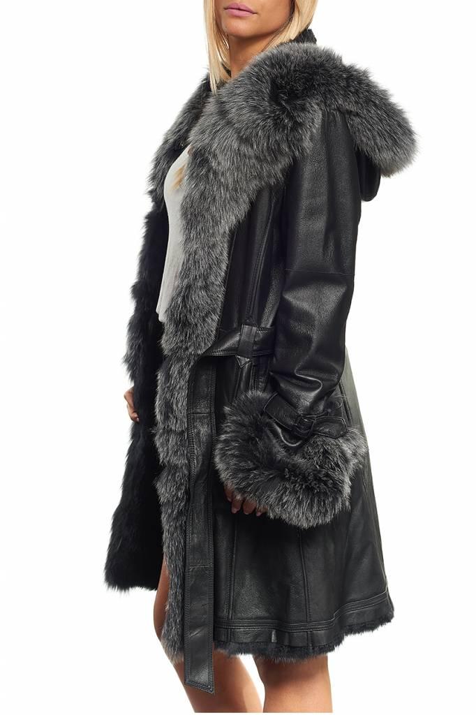 manteau femme fourrure lapin renard giovanni newone noir revacuir. Black Bedroom Furniture Sets. Home Design Ideas