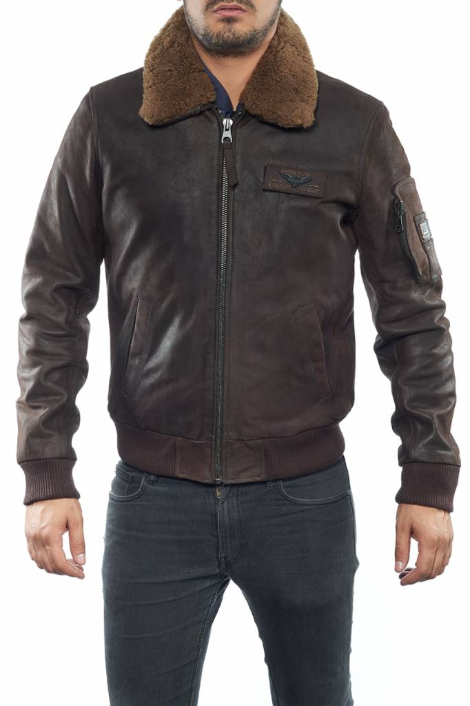 2cca23f34543 Blouson cuir homme redskins commander marron. - Revacuir