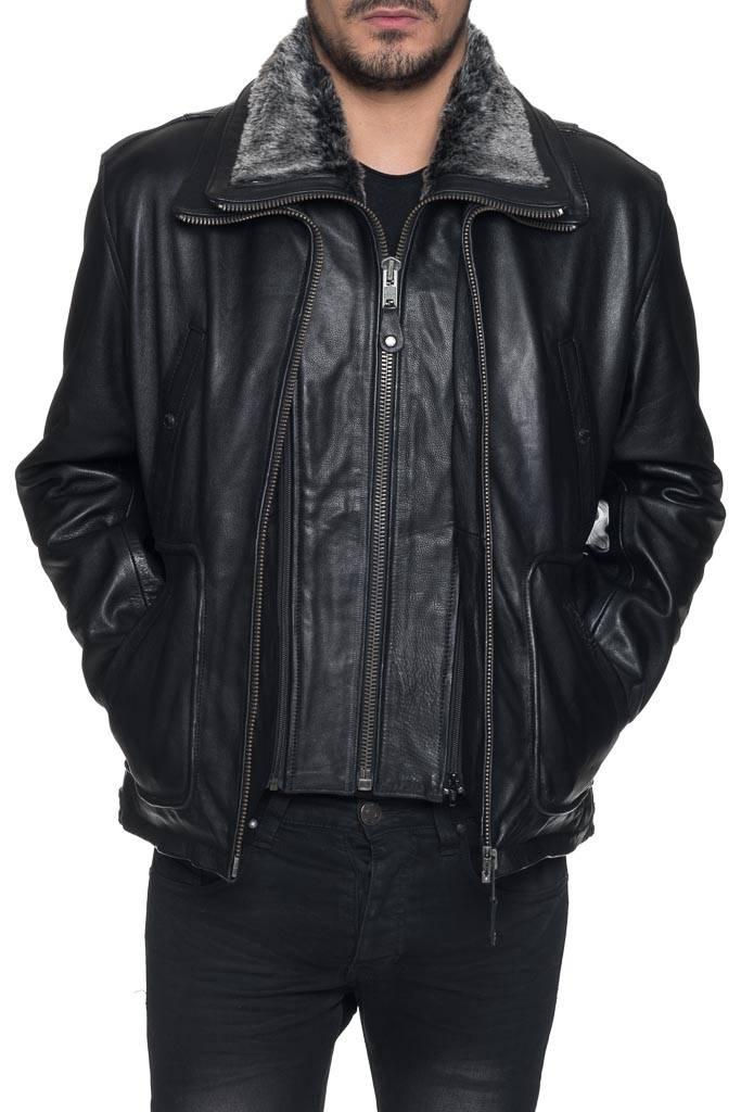 Blouson Schott Lc8100a Noir Homme Cuir Revacuir Pour 6xwg67r