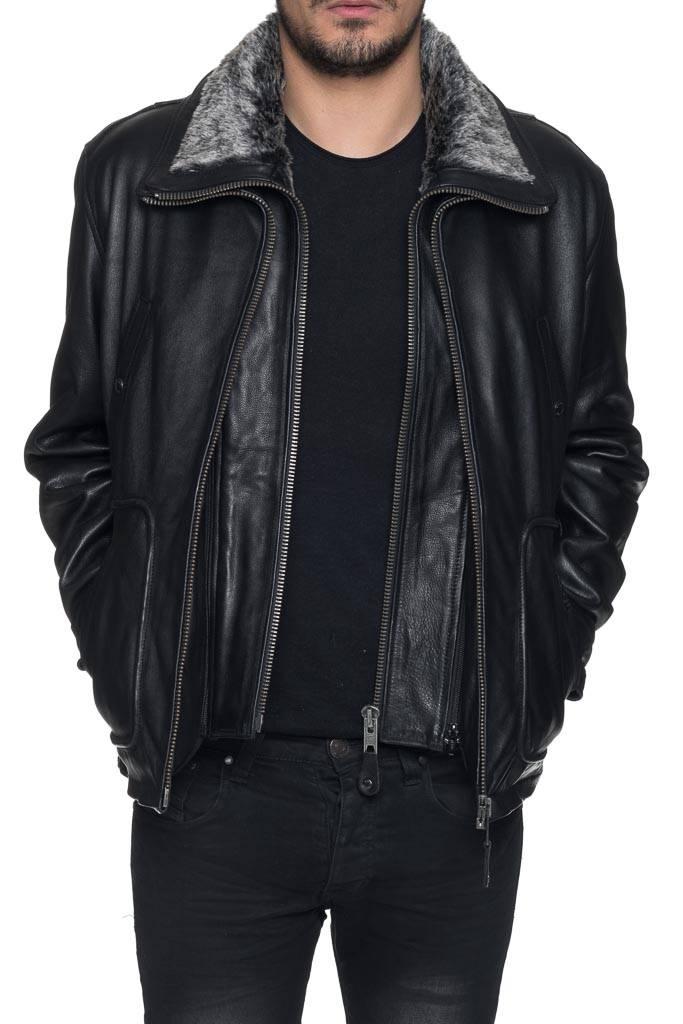Blouson cuir pour homme Schott LC8100A noir.