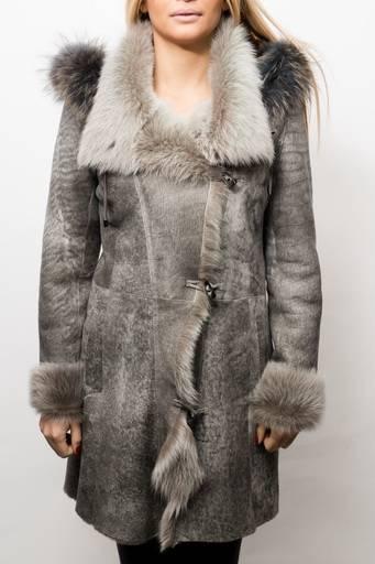 Veste peau lainée Luis Campoy Gisela gris.