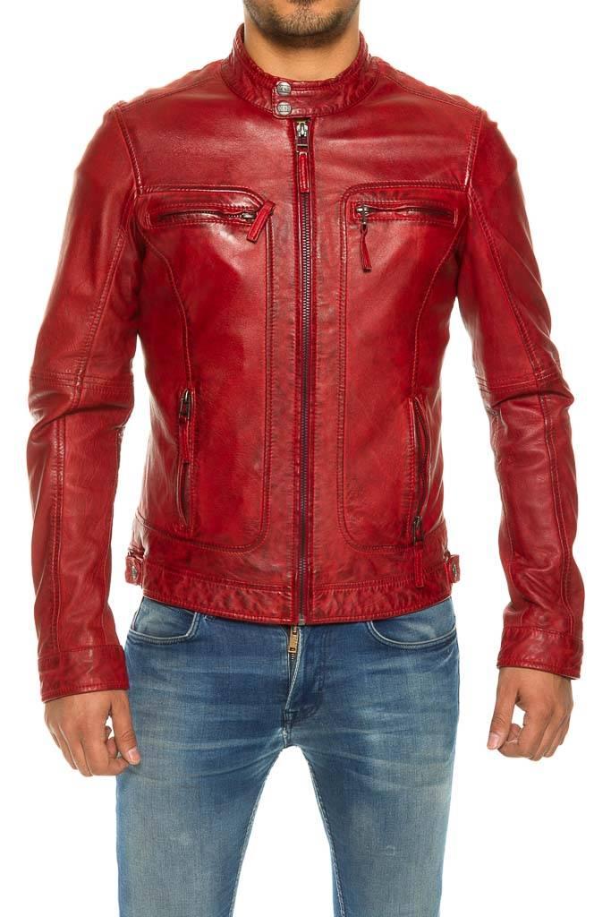 aa13341cf2c69 blouson cuir agneau oakwood casey rouge. - Revacuir