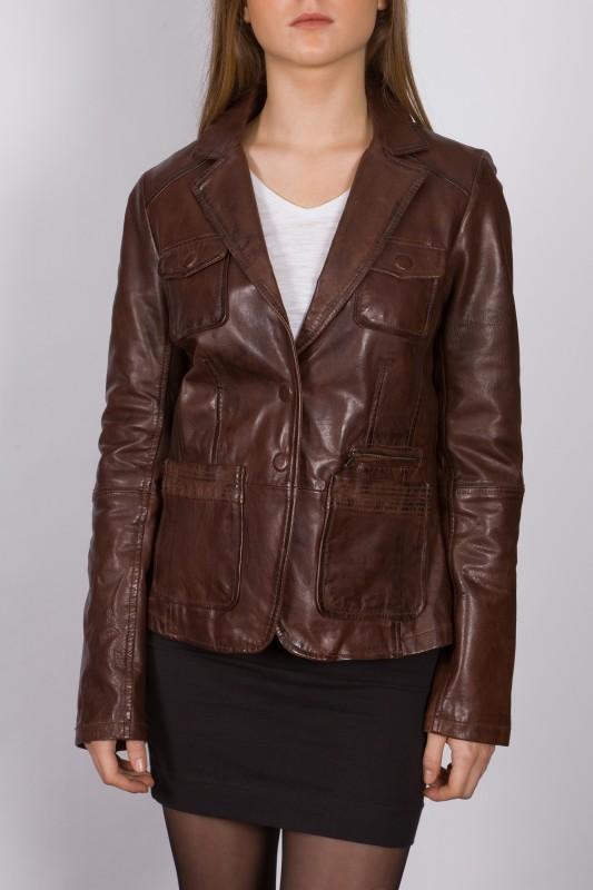 blazer en cuir lpb femme marron 2160 revacuir. Black Bedroom Furniture Sets. Home Design Ideas