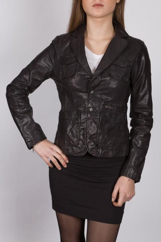 Blazer en cuir LPB femme noir 2160.