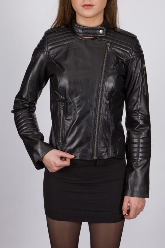 Blouson en cuir LPB femme noir Bebel.