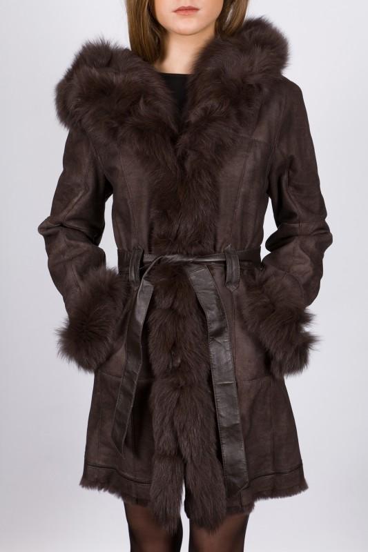 Manteau en fourrure LPB femme marron Lady.