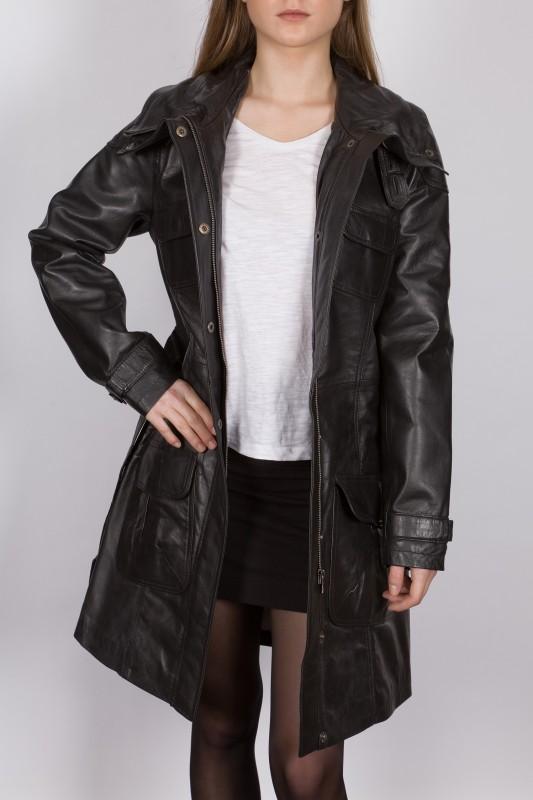 manteau 3 4 en cuir lpb femme noir san ambroggio vente. Black Bedroom Furniture Sets. Home Design Ideas