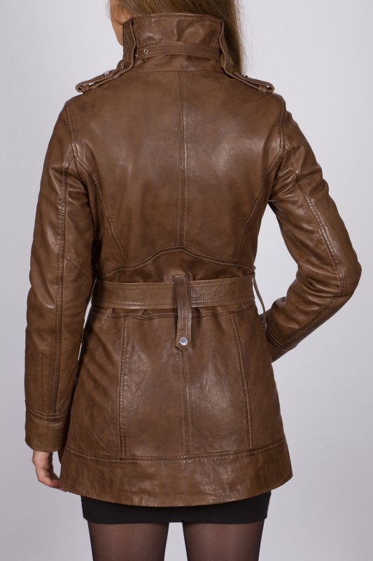 Manteau 3 4 en cuir giorgio femme marron katia02 vente blouson en cuir pas c - Chutes de cuir pas cher ...