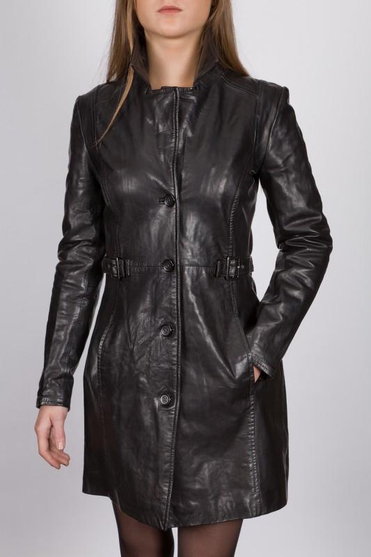 veste longue en cuir revacuir femme noir laura100201 vente blouson en cuir pas cher revacuir. Black Bedroom Furniture Sets. Home Design Ideas
