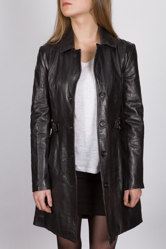 veste longue en cuir revacuir femme noir laura100201 vente blouson en cuir pas cher revacuir. Black Bedroom Furniture Sets. Home Design Ideas