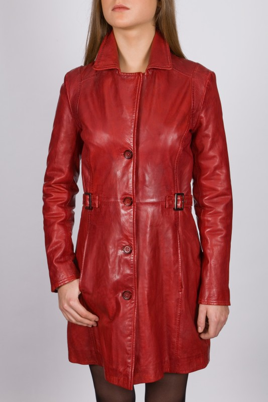 veste longue en cuir revacuir femme rouge laura100201 vente blouson en cuir pas cher revacuir. Black Bedroom Furniture Sets. Home Design Ideas