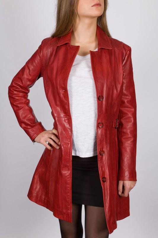 veste longue en cuir revacuir femme rouge laura100201. Black Bedroom Furniture Sets. Home Design Ideas