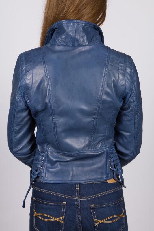 Veste en cuir bleu