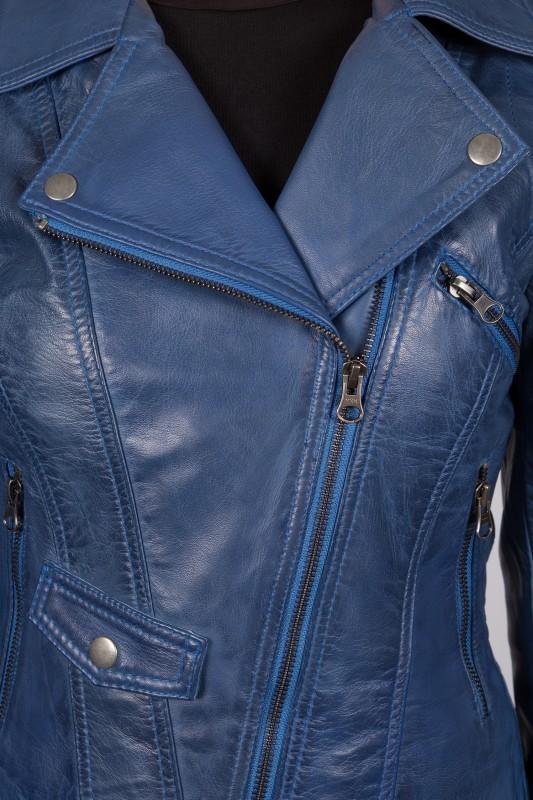 blouson cuir lpb femme bleu nina revacuir. Black Bedroom Furniture Sets. Home Design Ideas