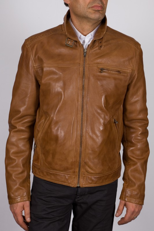 veste en cuir daytona homme cognac shelby vente blouson. Black Bedroom Furniture Sets. Home Design Ideas