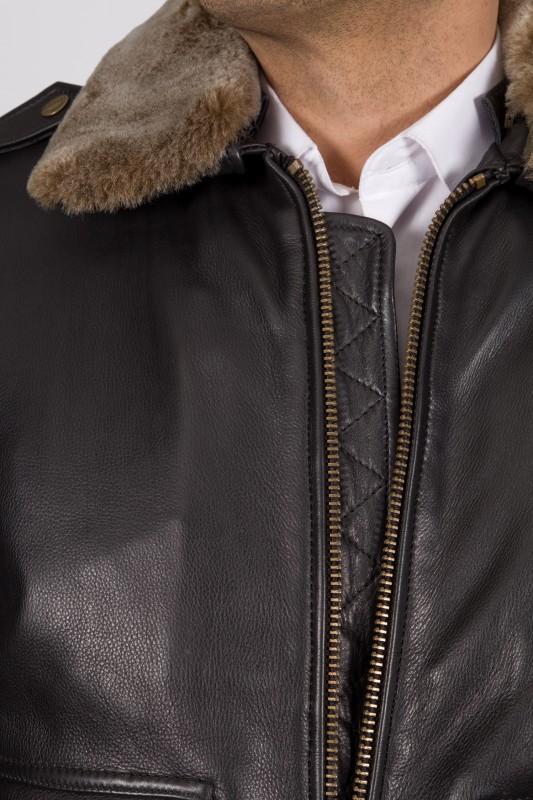 blouson en cuir mac douglas homme noir gerry vente blouson. Black Bedroom Furniture Sets. Home Design Ideas