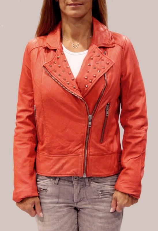 Blouson en cuir LPB femme rouge Stormie