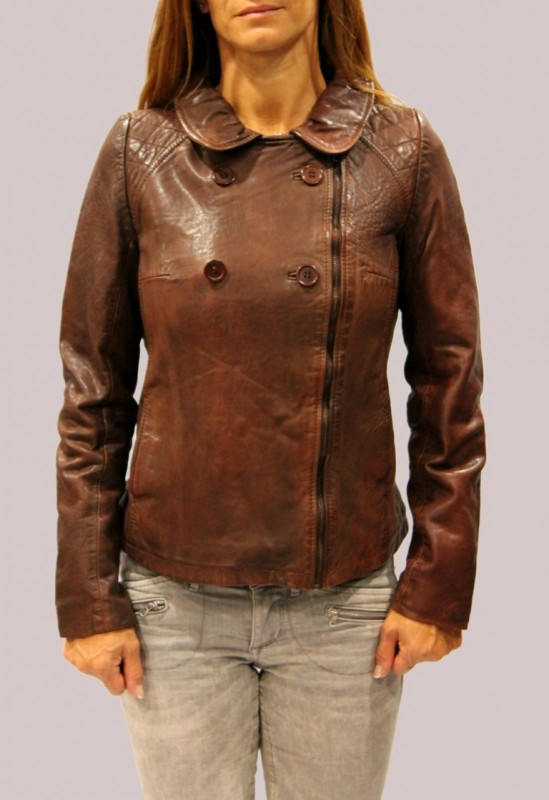 Blouson en cuir LPB femme rust Mexico