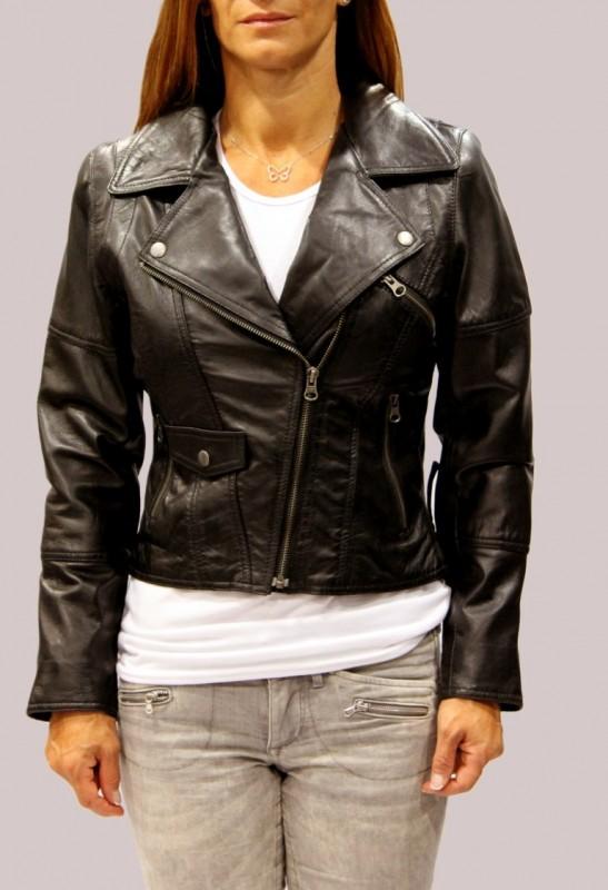 Blouson en cuir LPB femme noir Nina