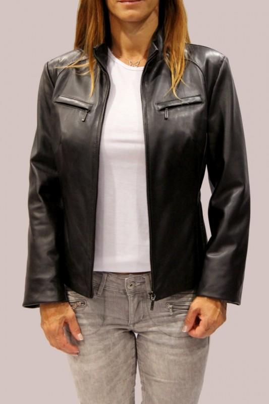 veste en cuir lpb femme noir city vente blouson en cuir. Black Bedroom Furniture Sets. Home Design Ideas
