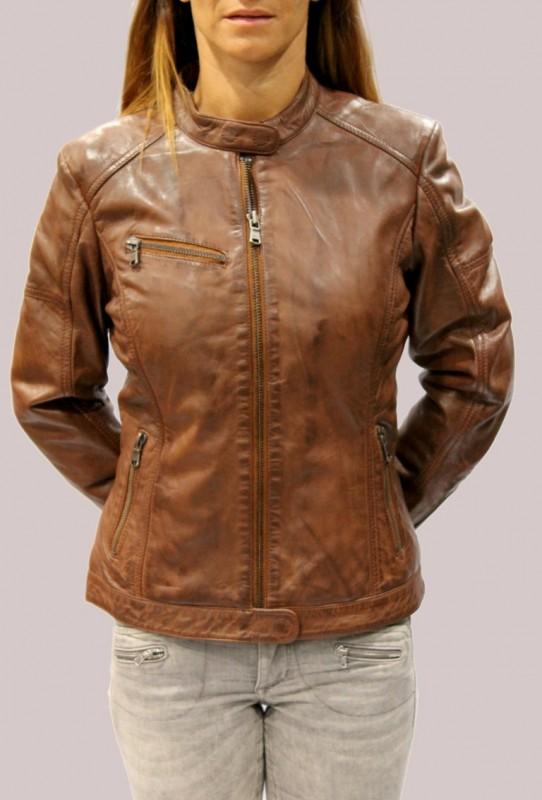 Blouson en cuir redskins femme dark rust express. REVACUIR