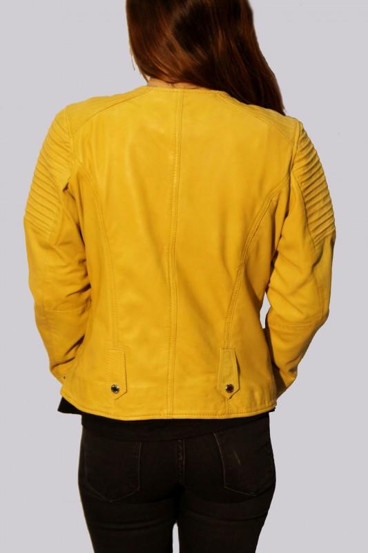 blouson en cuir giorgio femme jaune katsia vente blouson en cuir pas cher revacuir revacuir. Black Bedroom Furniture Sets. Home Design Ideas