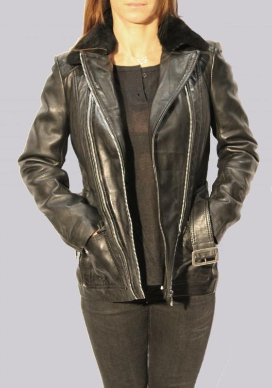 veste en cuir et fourrure redskins femme noir marlen. Black Bedroom Furniture Sets. Home Design Ideas