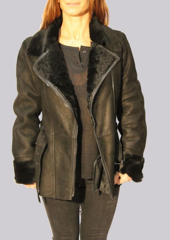 veste en peau lain e femme noir dona vente blouson en cuir. Black Bedroom Furniture Sets. Home Design Ideas
