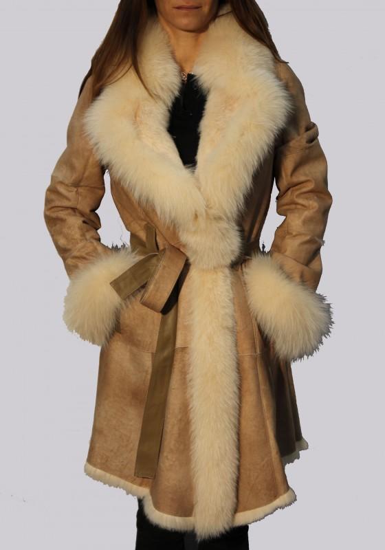 manteau en peau et fourrure intuition femme beige al60 149. Black Bedroom Furniture Sets. Home Design Ideas
