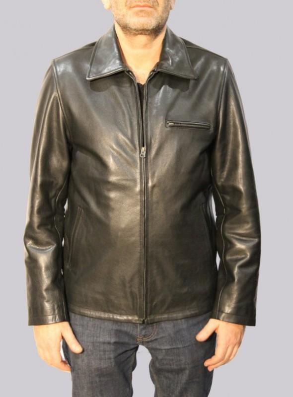 Blouson en cuir Revacuir homme noir Mota.