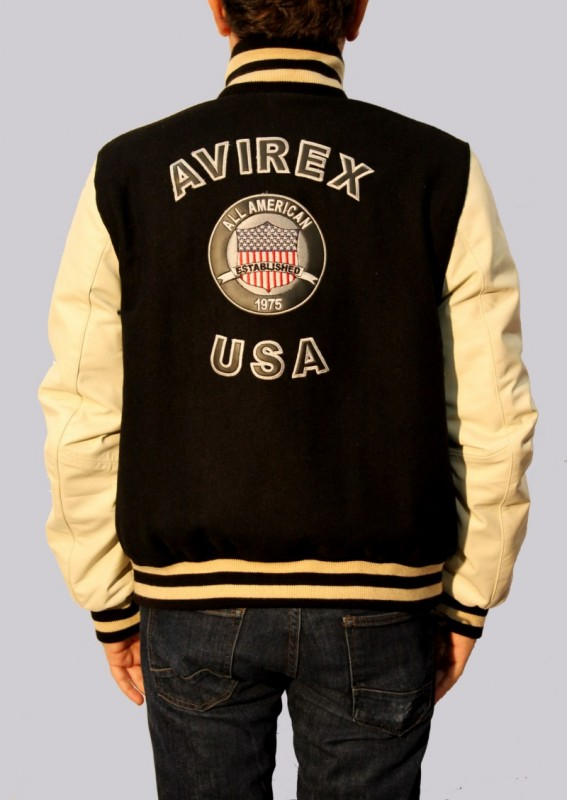 Blouson en cuir et tissu AVIREX homme noir College