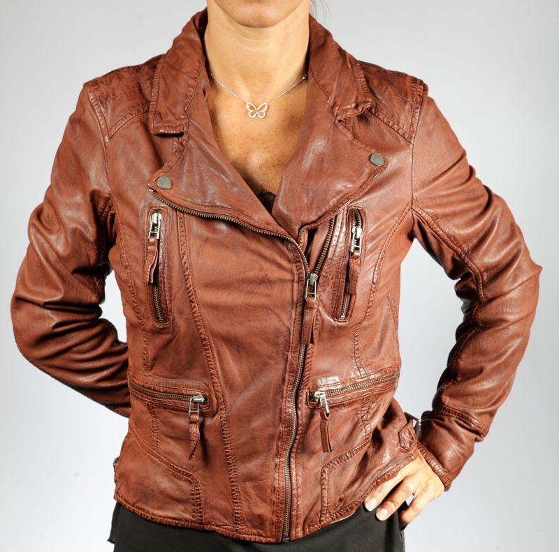 Favori Veste en cuir oakwood femme camera whisky - REVACUIR TB44
