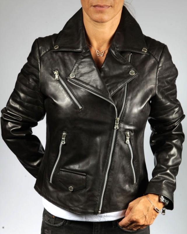 blouson perfecto en cuir femme redskins marthe black agneau revacuir. Black Bedroom Furniture Sets. Home Design Ideas