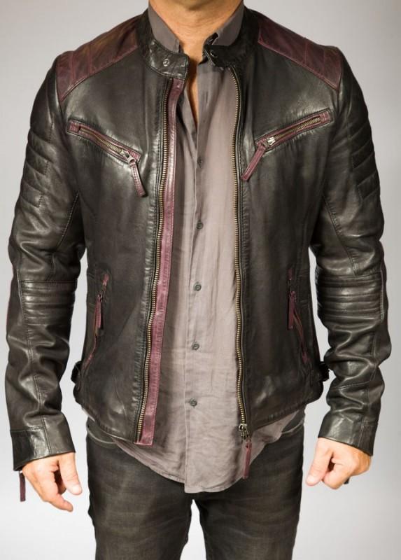 blouson cuir homme giorgio smith bi colore bordeaux noir vente blouson en cuir pas cher. Black Bedroom Furniture Sets. Home Design Ideas