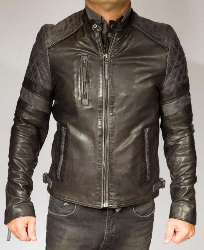 Veste en cuir col motard homme