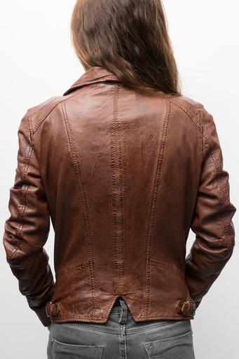 blouson cuir femme marron vieilli