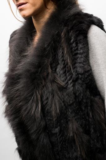 Veste sans manche lapin noir