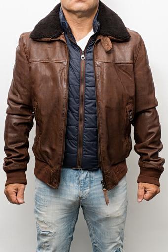 fb5e4790ac0b Blouson cuir style pilote redskins jorge liverpool cognac - Revacuir