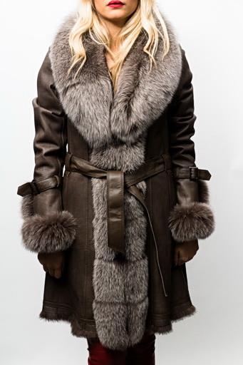 manteau fourrure lapin renard giovanni bruna marron revacuir. Black Bedroom Furniture Sets. Home Design Ideas