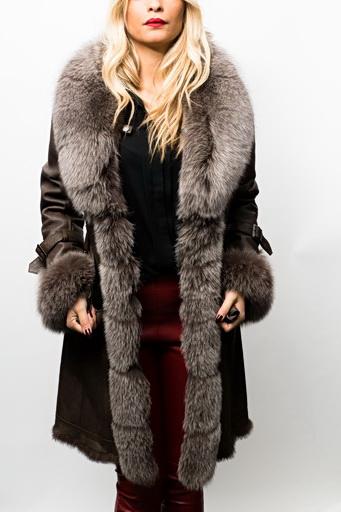 manteau fourrure lapin renard giovanni bruna marron vente blouson en cuir pas cher revacuir. Black Bedroom Furniture Sets. Home Design Ideas