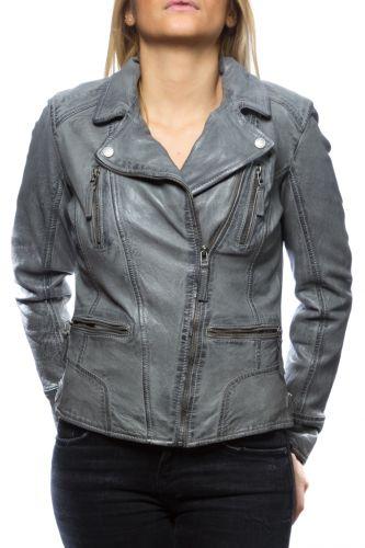 perfecto cuir gris pour femme