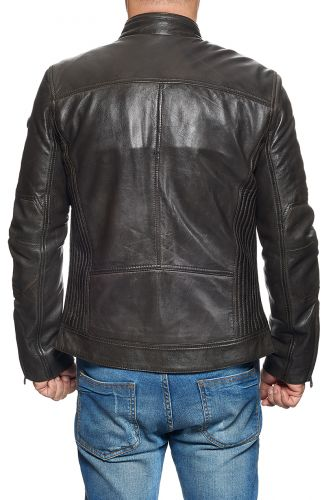 Blouson Cuir Redskins Lynch Marron.