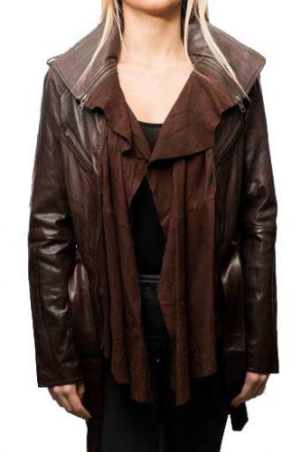 Manteau en peau lainée femme forme perfecto marron cuir paris