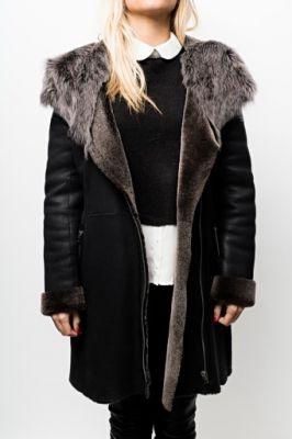 veste peau lainée pour femme
