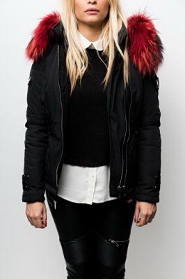 veste ventiuno noir fourrure rouge