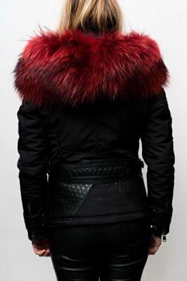 Blouson doudoune Ventiuno Sofia noir col rouge