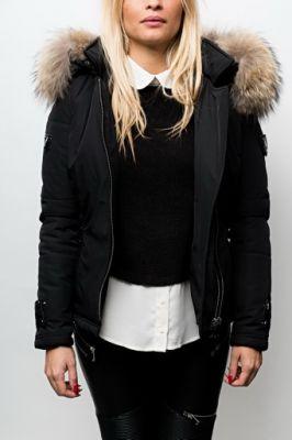 Veste doudoune Sofia noir col naturel