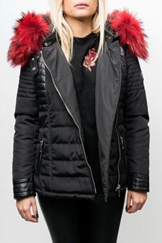 Blouson Femme Horspist Julia Noir col rouge