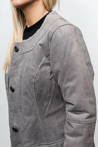 Veste peau LPB Diana gris